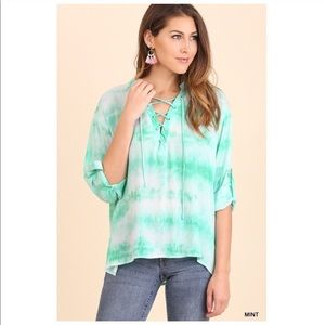 Tops - Mint Tie Dye Lace Up Top Roll Sleeve
